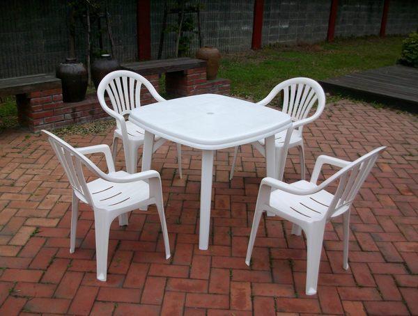 Brother Club~兄弟牌歐式風情~白色塑膠椅+塑膠方桌(抗UV紫外線),一桌四椅~物美價廉庭院必備!!