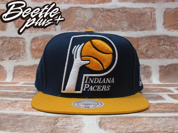 BEETLE PLUS 全新 MITCHELL&NESS NBA 印第安那 溜馬隊 PACERS 電繡LOGO 深藍 黃 SNAPBACK MN-188