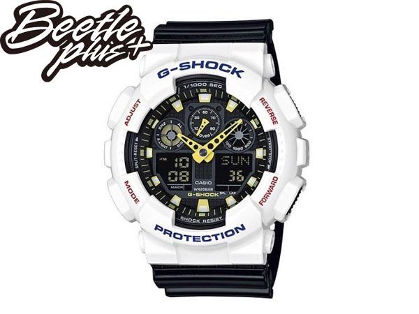 BEETLE PLUS 全新 現貨 CASIO G-SHOCK GA-100CS-7ADR 白 黑 黃 雙顯 數位 指針 運動系列 手錶 WATCH