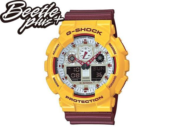 BEETLE PLUS CASIO G-SHOCK GA-100CS-9ADR 白黃 酒紅 雙顯 數位 鋼鐵人 騎士隊 JAMES LBJ 麥當勞 電子錶 手錶 WATCH