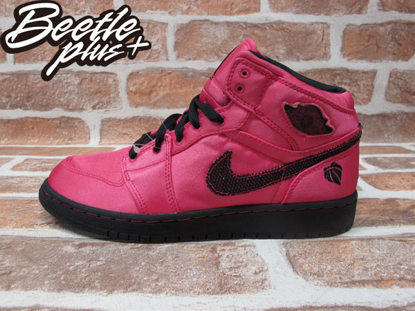 BEETLE PLUS 全新 NIKE AIR JORDAN 1 PHAT GS 亮粉 黑 緞面 情人節 364781-601