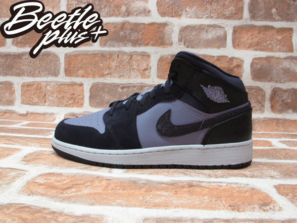 BEETLE PLUS NIKE AIR JORDAN 1 MID GS 黑紫 高筒 葡萄 花紋 麂皮 女鞋 555112-508