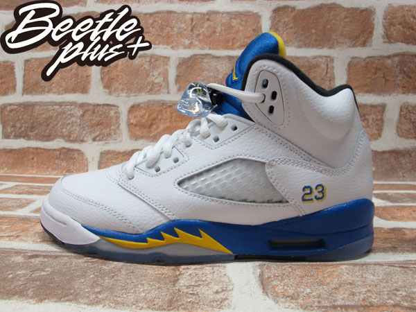 BEETLE PLUS 全新 AIR JORDAN 5 RETRO GS LANEY 藍尼中學 白藍黃 女鞋 440888-189