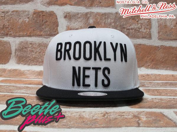 BEETLE PLUS 全新 MITCHELL&NESS NBA 布魯克林籃網 BROOKLYN NETS 白黑 LOGO 文字 SNAPBACK 後扣棒球帽 柯震東 MN-219