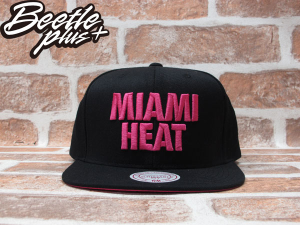 BEETLE PLUS 全新 MITCHELL&NESS NBA MIAMI HEAT 邁阿密 熱火 文字 黑粉 SNAPBACK 後扣棒球帽 MN-189