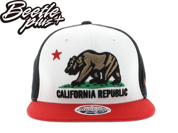 BEETLE PLUS 全新 ZEPHYR CALIFORNIA REPUBLIC 加州熊 白 紅 黑 ORIGINAL SNAPBACK 後扣棒球帽 MN-193