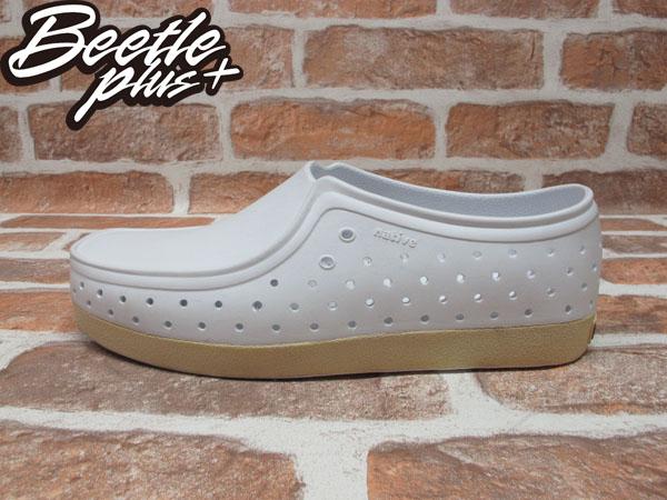 BEETLE PLUS 西門町 經銷 經典 NATIVE CORRADO SHELL WHITE 抗菌 白 基本 袋鼠鞋 上班專用 GLM03-110