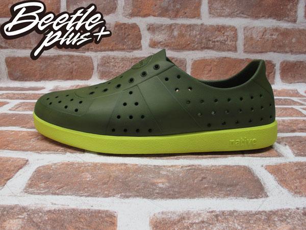 BEETLE PLUS 西門町經銷 全新 加拿大品牌 NATIVE HUGO 超輕量 德軍訓練鞋 芥末綠 螢光黃底 FIZZ GLM23-351