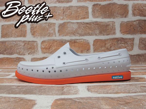 BEETLE PLUS 2014 NATIVE HOWARD SHELL WHITE/CANTALOUPE PINK 白 亮橘 雙色 輕量 帆船鞋 GLM11-128