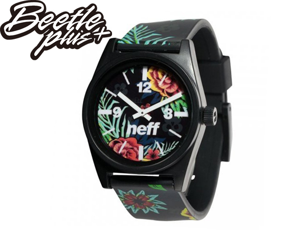 BEETLE PLUS NEFF DAILY WILD WATCH ASTRO FLORAL 花卉 扶桑花 全黑 指針錶 手錶 SWATCH