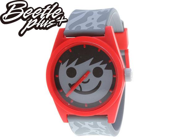 BEETLE PLUS 美國品牌 NEFF DAILY SUCKER WATCH 灰紅 笑臉 CEMENT 爆裂紋 豹紋 指針 圓錶 指針手錶 AJ3