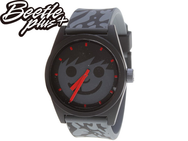 BEETLE PLUS 全新 美國品牌 NEFF DAILY SUCKER WATCH 黑紅 笑臉 CEMENT 爆裂紋 豹紋 圓錶 指針手錶 AJ4