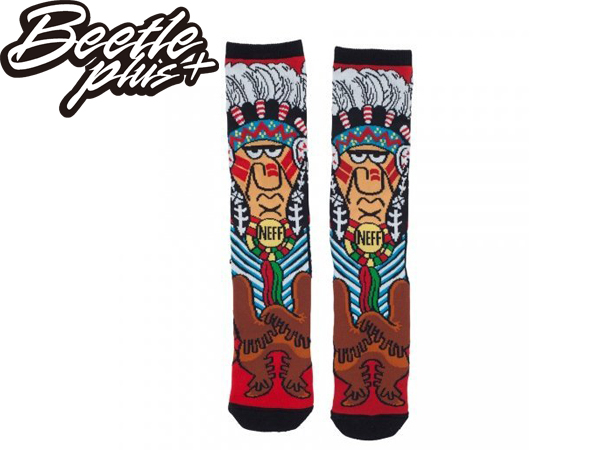 BEETLE 美國潮牌 NEFF CHIEF SOCKS 滿版 印第安人 紅 長筒襪 中長襪 HUF OBEY