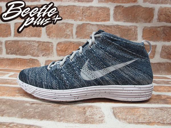 BEETLE PLUS 全新 NIKE LUNAR FLYKNIT CHUKKA 藍 灰 編織 高筒 輕量 慢跑鞋 554969-400