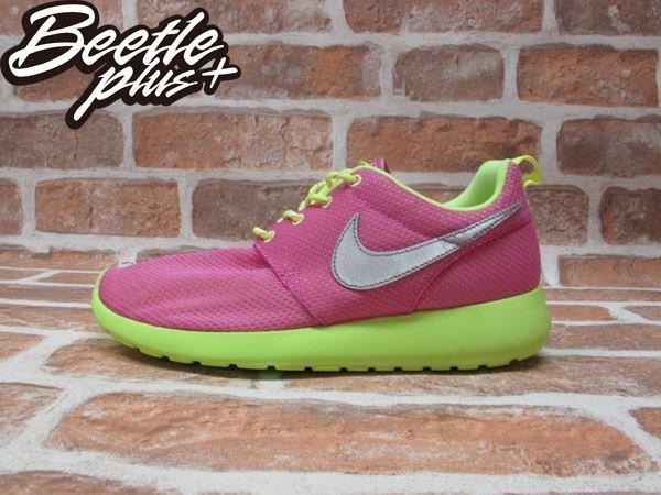 BEETLE PLUS NIKE ROSHE RUN GS GD 粉紅 螢光綠 銀勾 糖果甜心 女鞋 慢跑鞋 599729-501