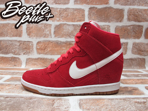 BEETLE PLUS 全新 NIKE WMNS DUNK SKY HI 紅白 麂皮 楔型鞋 內增高 女鞋 528899-601