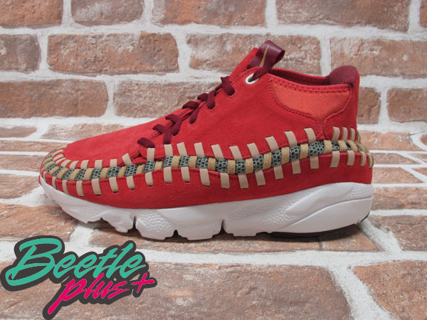 BEETLE PLUS 全新 NIKE AIR FOOTSCAPE WOVEN CHUKKA KNIT 紅綠 麂皮 編織 側綁 543208-863