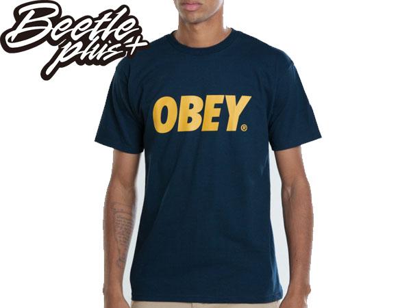 BEETLE PLUS 西門町經銷 全新 美國品牌 OBEY FONT TEE LOGO NAVY 深藍 金黃 MISHKA OBEY NEW ERA 333080029NGD OB-138