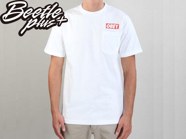BEETLE PLUS 西門町經銷 全新 美國品牌 OBEY CLASSIC BOX TEE LOGO 小口袋 白 NBA SUPREME 333370084WHT OB-197