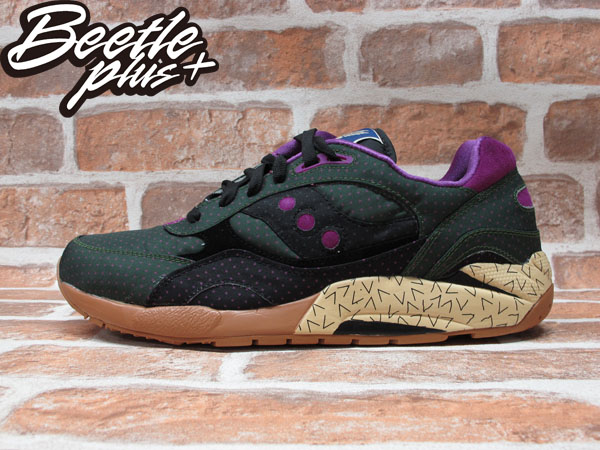 BEETLE PLUS SAUCONY SHADOW 6000 綠 紫 點點 尼龍 慢跑鞋 S70154-1 D-098