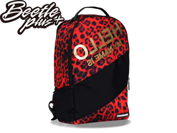 BEETLE PLUS 美國潮牌 SPRAYGROUND 超強功能性 後背包 THE HELLO LEOPARD DELUXE BACKPACK 黑紅 豹紋 金字 SP-05