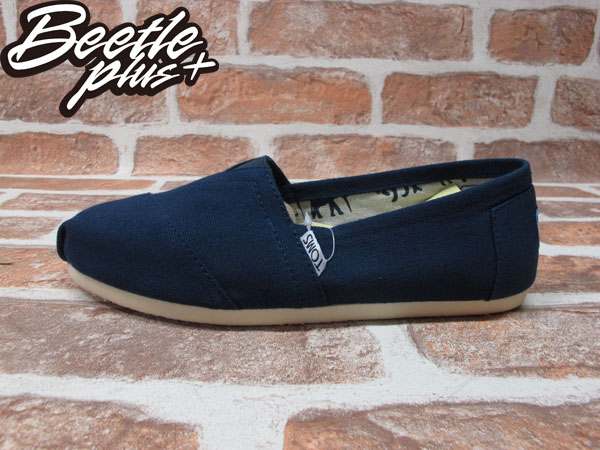 BEETLE PLUS 全新 TOMS CLASSICS NAVY CANVAS WOMEN 女鞋 布面 藍 平底 帆布鞋 TOMS-018