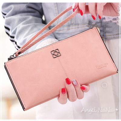 手拿包。AngelNaNa三層 油蠟皮 大容量 女長夾 手機包~可放iphone 7plus【M177】