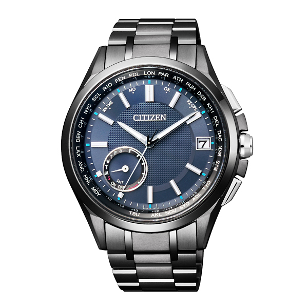 CITIZEN星辰CC3015-57L 40週年鈦金屬GPS衛星對時腕錶/黑藍(加贈錶帶)43mm