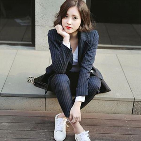 PS Mall OL正式西裝套裝顯瘦長褲+長袖外套休閒兩件套裝【T2304】