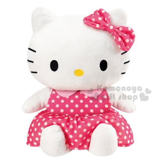 〔小禮堂〕Hello Kitty 附盒造型絨毛玩偶《粉.坐姿.點點洋裝》會錄音.唱歌.搖擺