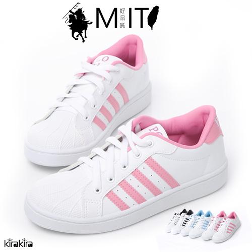 MIT運動鞋-POLO四線綁帶白底休閒鞋-預購