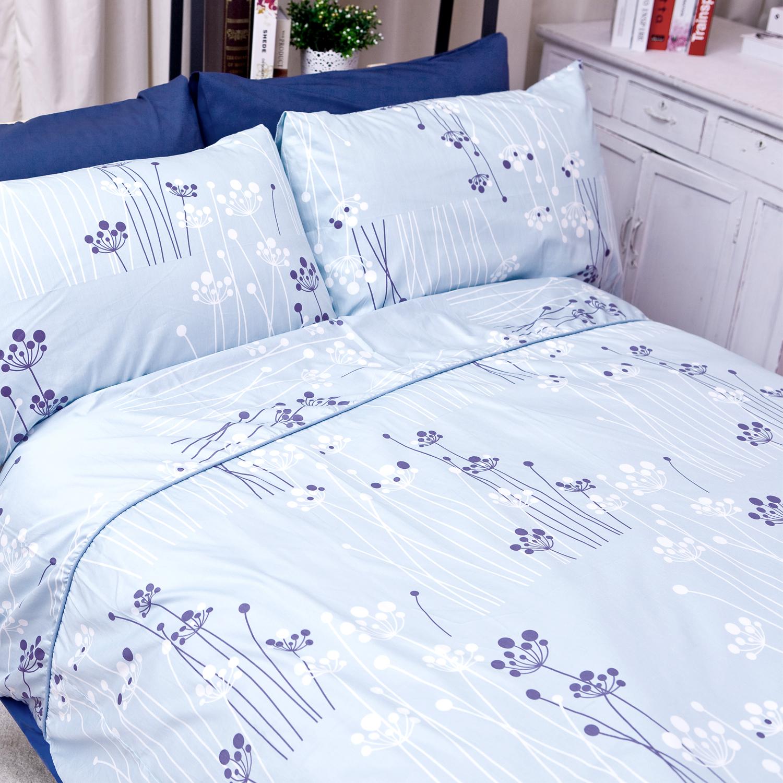 【名流寢飾家居館】綴影浮藍.100%精梳棉.特大雙人床包組.全程臺灣製造