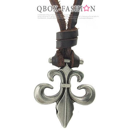 《 QBOX 》FASHION 飾品【 W10024432】精緻個性復古克羅心十字架合金皮革墬子項鍊