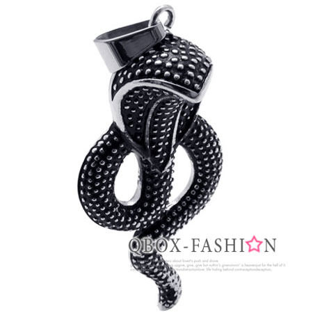 《 QBOX 》FASHION 飾品【W10020080】精緻眼鏡蛇鑄造316L鈦鋼墬子項鍊