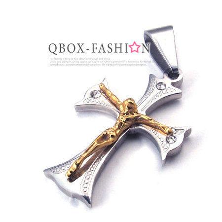 《 QBOX 》FASHION 飾品【W10021783】精緻個性耶穌十字架316L鈦鋼墬子項鍊(金)