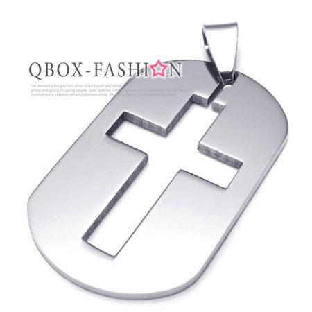 《 QBOX 》FASHION 飾品【W10021954】精緻個性簡約十字架盾牌316L鈦鋼墬子項鍊
