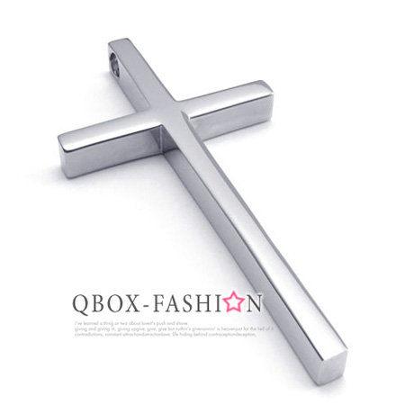 《 QBOX 》FASHION 飾品【W10022035】精緻個性簡約十字架316L鈦鋼墬子項鍊(銀)