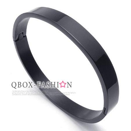 《 QBOX 》FASHION 飾品【W10022075】 精緻個性黑色百搭素面環扣316L鈦鋼手鍊/手環(男/女款)
