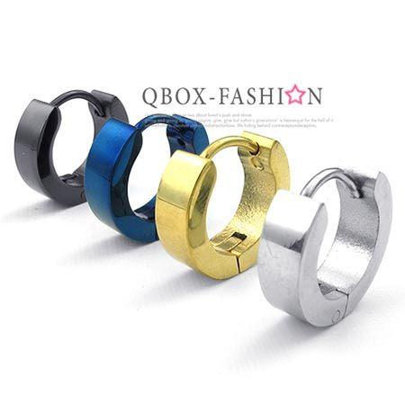 《QBOX 》FASHION 飾品【W10023572】精緻個性素面顏色百搭316L鈦鋼環扣式耳環(防過敏)