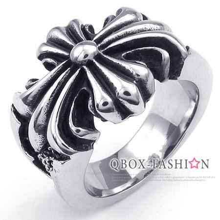 《 QBOX 》FASHION 飾品【W10023752】精緻個性克羅心十字架鑄造316L鈦鋼戒指/戒環