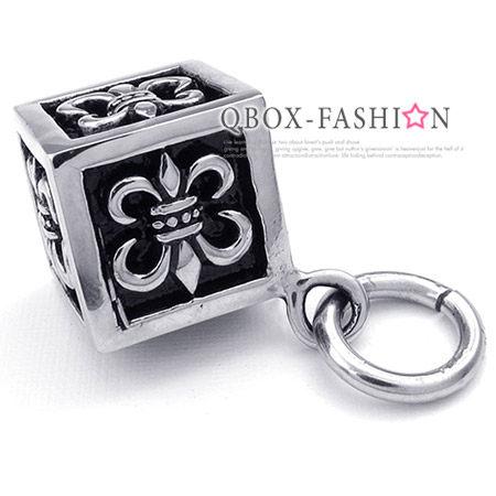 《 QBOX 》FASHION 飾品【W10023887】精緻個性克羅心十字架方塊盒鑄造316L鈦鋼墬子項鍊