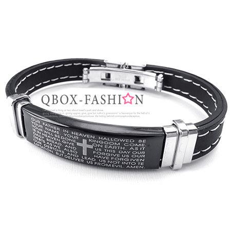 《QBOX 》FASHION 飾品【W10024378】精緻個性方盾經文316L鈦鋼黑矽膠手鍊/手環(黑)