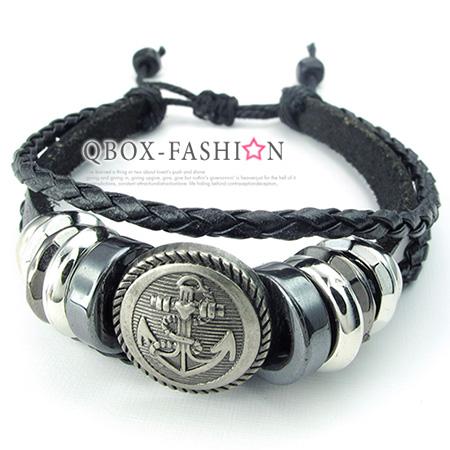 《 QBOX 》FASHION 飾品【W10024422】精緻個性復古航海船錨標誌合金皮革手鍊/手環(黑色)