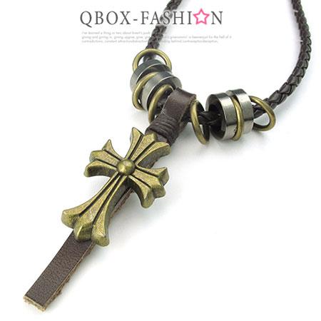《 QBOX 》FASHION 飾品【W10024528】精緻個性復古克羅心十字架合金皮革墬子項鍊