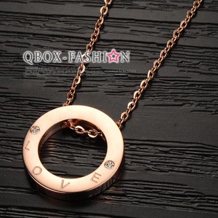 《 QBOX 》FASHION 飾品【W2014N908】精緻韓系愛之光環鑲鑽玫瑰K金316L鈦鋼墬子項鍊