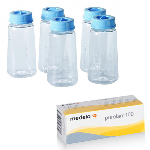 medela美樂 - purelan100純羊脂(羊脂膏) 37g + Spectra貝瑞克 - 奶水儲存瓶5入 超值組