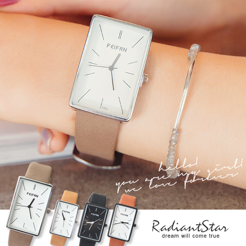 香港FEIFAN天天晴朗好心情長方形文青皮革手錶【WFE62004】璀璨之星☆