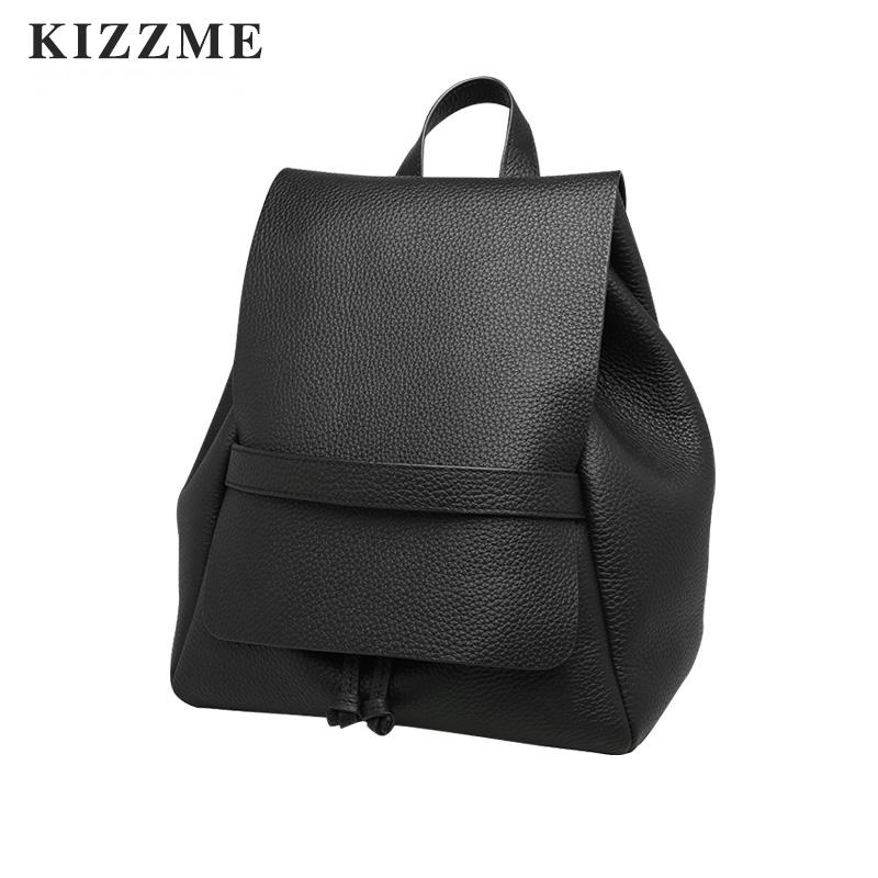 (喜番屋)KIZZME韓版真皮頭層牛皮女士女包極簡抽繩束口水桶包雙肩包肩背包後背包書包旅行手提包上學逛街ki99