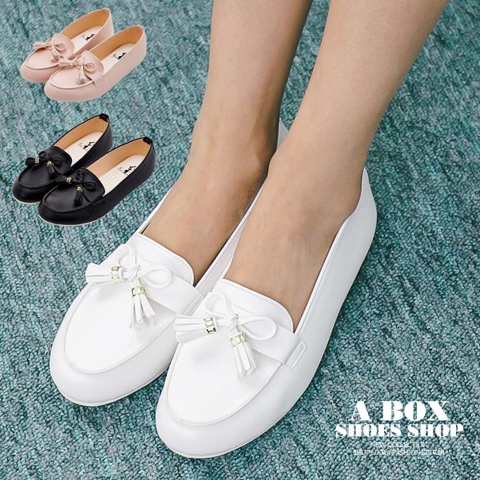 格子舖*【AW526】*限時免運* MIT台灣製 蝴蝶結流蘇 豆豆鞋 圓頭包鞋 娃娃鞋 3色