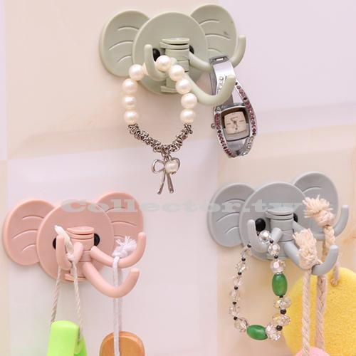 【F16071804】可愛大象造型3掛勾 壁掛勾廚房 浴室免釘掛鉤 多用強力無痕掛鉤(單一價)